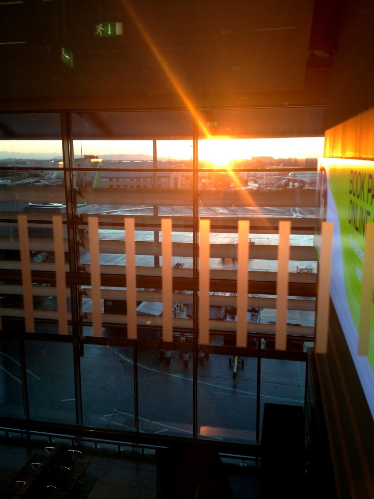 The first sight that greeted me when I came back to Ireland after Christmas break: sunrise over the Dublin airport.