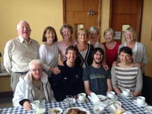"""Some of the """"Tea Ladies"""" (& Fr. Denis!) with members of Teach Bhríde V."""