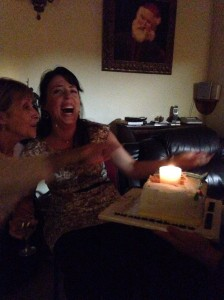 Our dear friend Maura on Joy's 24th Birthday.  Fun fact - this birthday cake was actually half of Clonard's 40th Anniversary Cake, and the candle in it was Frankincense-scented.