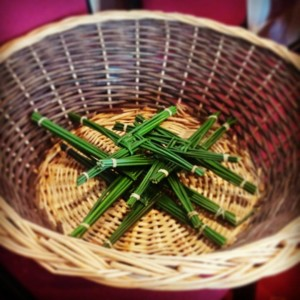 The beginning of our Brigid-cross making!