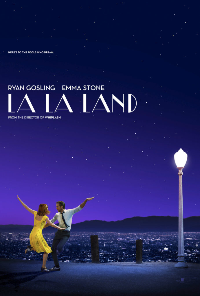 """La La Land,"" written and directed by Damien Chazelle and starring Ryan Gosling & Emma Stone."